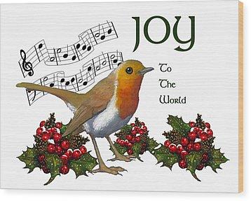 Christmas Robin Wood Print by Joyce Geleynse