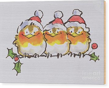 Christmas Robins Wood Print by Diane Matthes