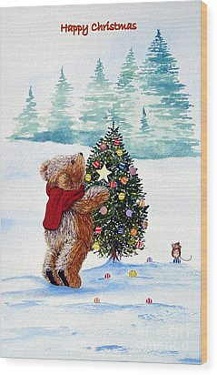 Christmas Star Wood Print by Gordon Lavender