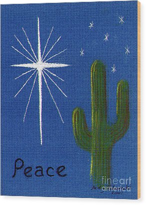 Wood Print featuring the painting Christmas Star Greeting Card by Judy Filarecki