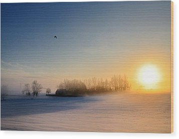 Christmas Sunset Wood Print by Pierre Hanquin Photographie