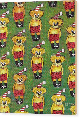 Christmas Teddy Bears Wood Print by Genevieve Esson