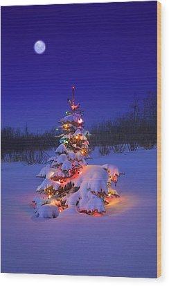 Christmas Tree Glowing Wood Print by Carson Ganci