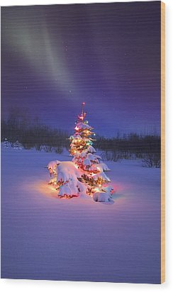 Christmas Tree Glowing Under The Wood Print by Carson Ganci