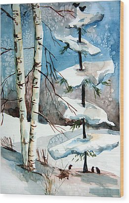 Christmas Twitters Wood Print by Mindy Newman