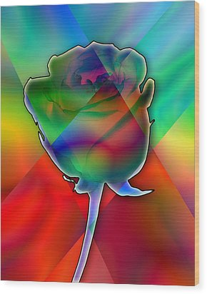 Chromatic Rose Wood Print by Anthony Caruso