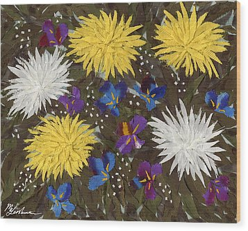 Chrysanthemums And Irises Wood Print by Marina Gershman