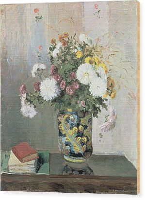 Chrysanthemums In A Chinese Vase Wood Print by Camille Pissarro