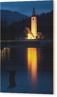 Church At Dusk Wood Print