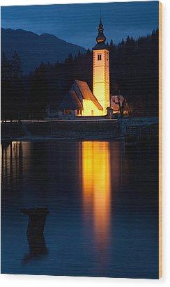 Church At Dusk Wood Print by Ian Middleton