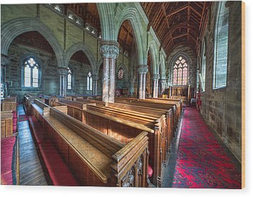 Church Benches Wood Print by Adrian Evans