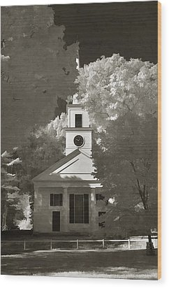 Church In Infrared Wood Print by Joann Vitali