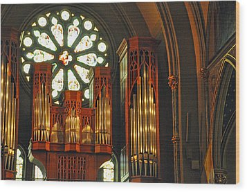 Church Interior Wood Print by Helen Haw