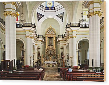 Church Interior In Puerto Vallarta Wood Print by Elena Elisseeva