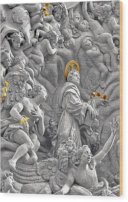 Church Of St James The Greater Prague - Stucco Bas-relief Wood Print by Christine Till