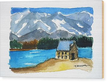 Wood Print featuring the painting Church Of The Good Shepherd Lake Tekapo New Zealand by Therese Alcorn
