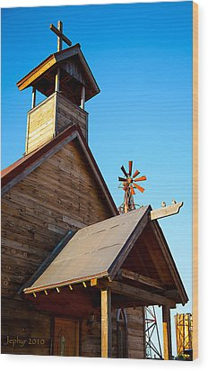 Church On The Mount - Goldfield Ghost Town Wood Print by Jephyr Art
