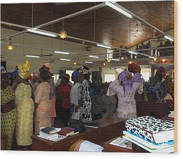 Church Service In Nigeria Wood Print by Amy Hosp