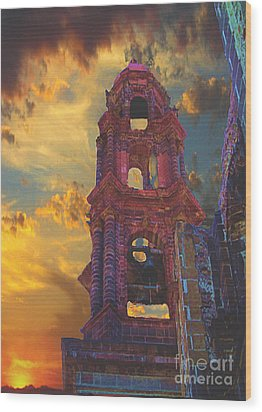 Wood Print featuring the photograph Church Tower In San Miguel De Allende by John  Kolenberg