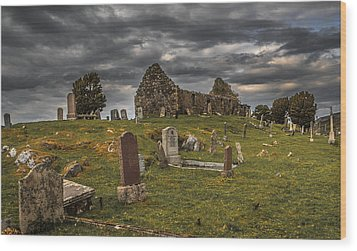 Cill Chriosd Churchyard Wood Print by Fiona Messenger