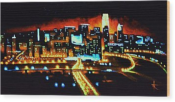 Cincinnati By Black Light Wood Print by Thomas Kolendra