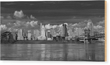 Cincinnati Skyline Bw Wood Print by Keith Allen