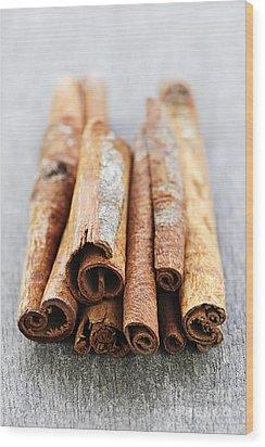 Cinnamon Sticks Wood Print by Elena Elisseeva
