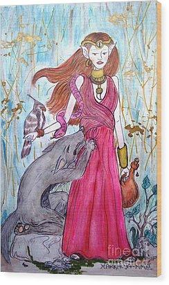 Circe The Sorceress Wood Print by Koral Garcia