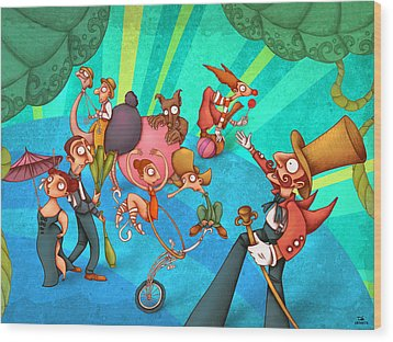 Circus 2 Wood Print by Autogiro Illustration