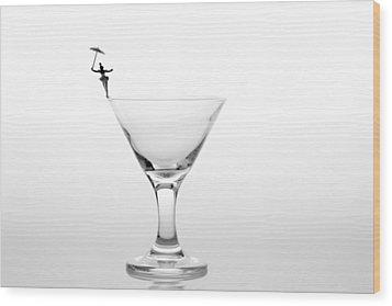 Circus Balance Game On Cup Edge Wood Print by Paul Ge