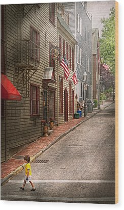 City - Rhode Island - Newport - Journey  Wood Print by Mike Savad