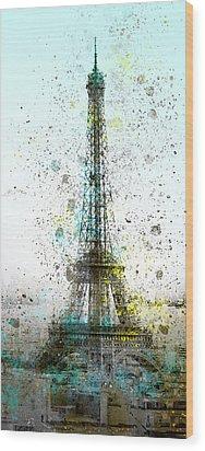 City-art Paris Eiffel Tower II Wood Print by Melanie Viola