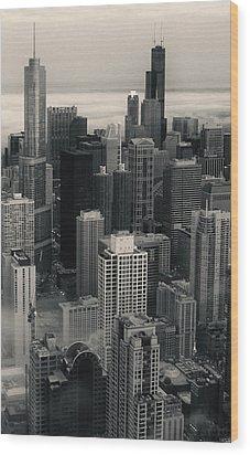 City At Dusk In Monotone Wood Print by Sheryl Thomas