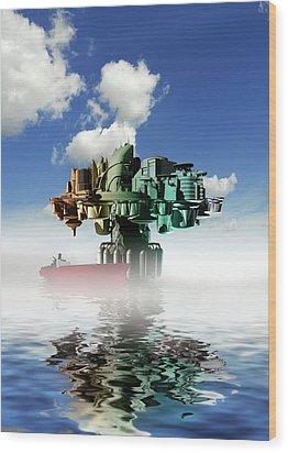 City At Sea, Artwork Wood Print by Victor Habbick Visions