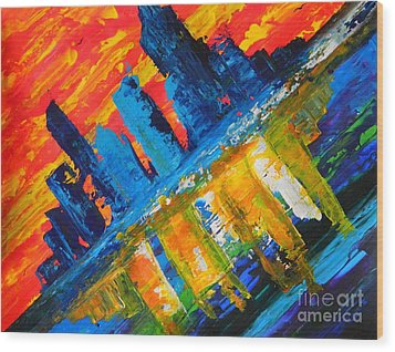 Wood Print featuring the painting City By The Sea by Everette McMahan jr