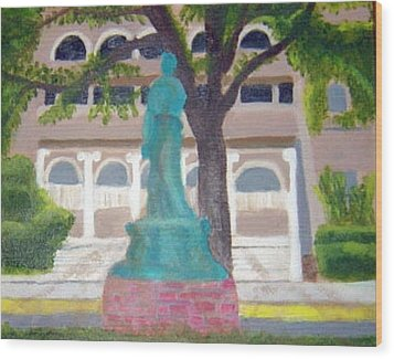 Wood Print featuring the painting City Club In Baton Rouge by Margaret Harmon