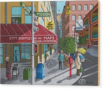City Corner Wood Print by Katherine Young-Beck