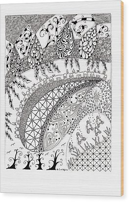 City Country And The Sea Wood Print by Paula Dickerhoff