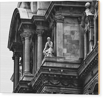 City Hall Edifice - Philadelphia Wood Print by Bill Cannon