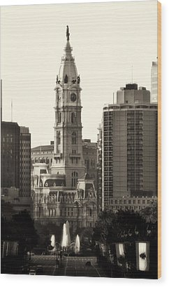 City Hall From The Parkway - Philadelphia Wood Print by Bill Cannon