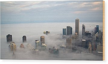 City In The Clouds Wood Print