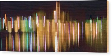 City Lights Over Water Abstract Wood Print by Carolyn Repka