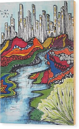 City Meets Nature Wood Print by Lynne Howard
