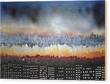 City Never Sleeps Wood Print