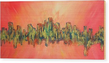 Wood Print featuring the painting City Of Lights by Mary Kay Holladay