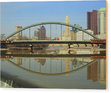 City Reflections Through A Bridge Wood Print by Laurel Talabere