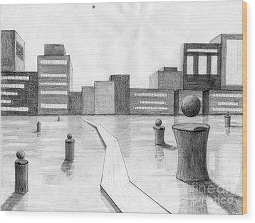 City Scene Wood Print by Alyssa Barilar