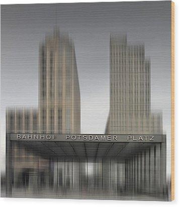 City-shapes Berlin Potsdamer Platz Wood Print by Melanie Viola