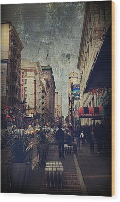 City Sidewalks Wood Print by Laurie Search