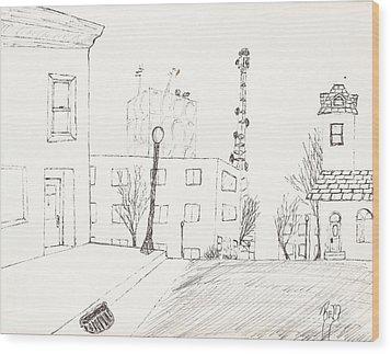City Street - Sketch Wood Print by Robert Meszaros